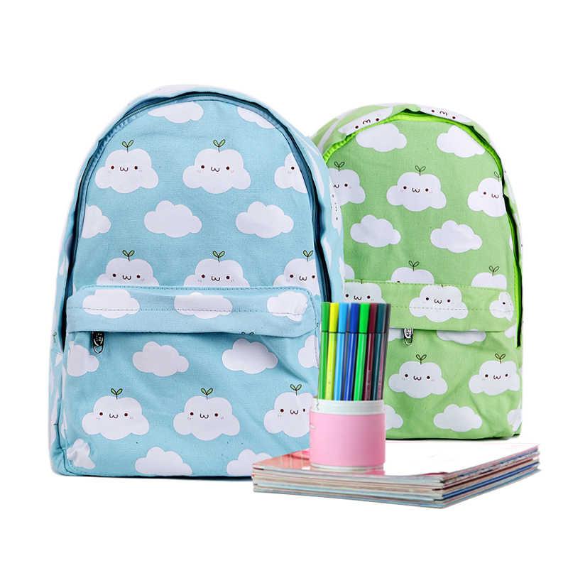 Harajuku стиль женские рюкзак с облаками корейский новый холст Kawaii школьный рюкзак женская сумка милые облака печать женский рюкзак
