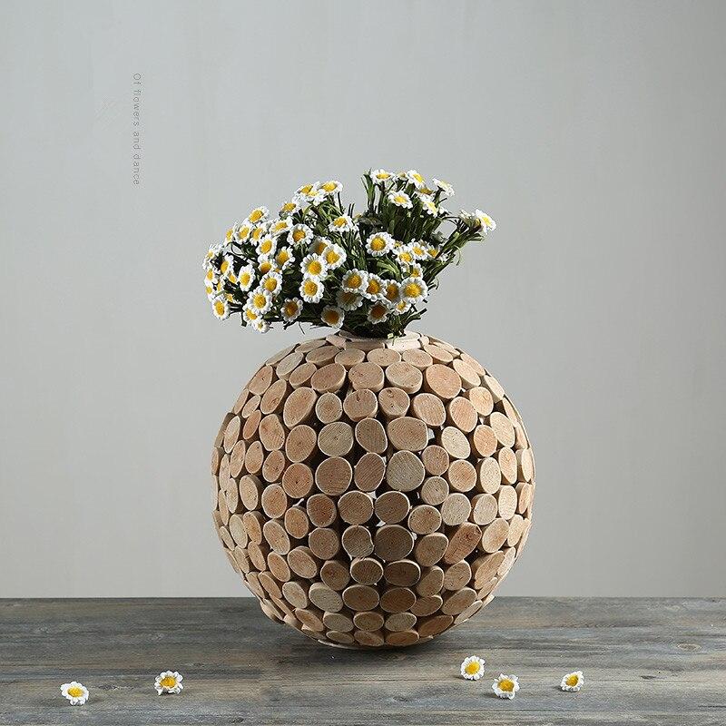 Wooden Vase Pastoral Vase Decoration Home Function Tabletop Vase