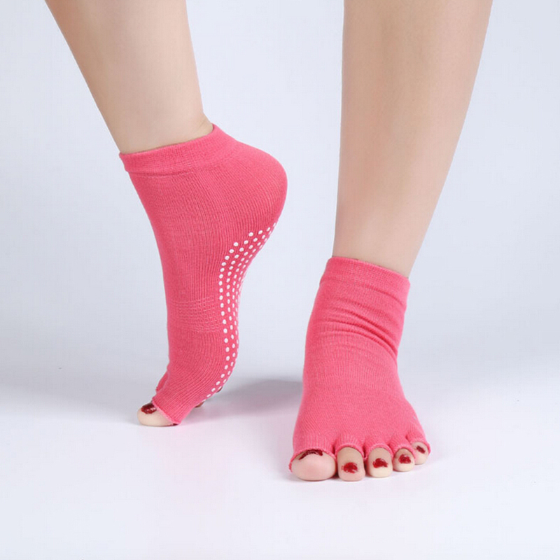 1Pair=2PCS Half Toe Yoga Socks Non-Slip Peep Toe Anti-Slip Pilates Ankle Grip Durable Open Half Five Fingers Cotton Yoga Socks
