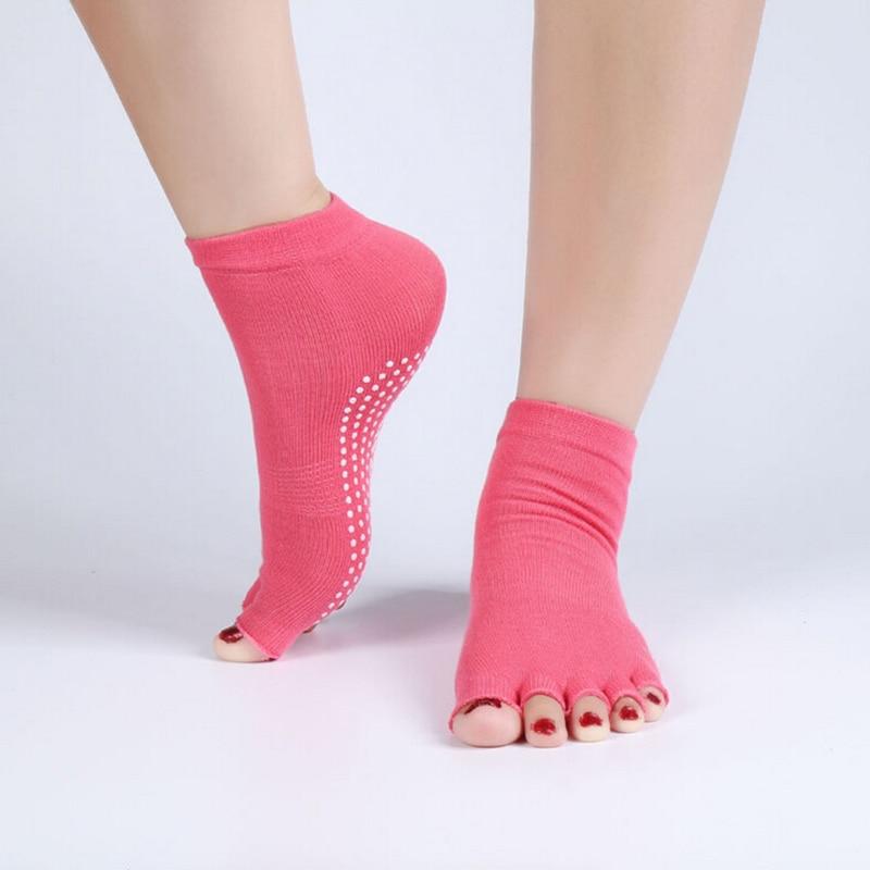 1Pair=2PCS Half Toe Yoga Socks Non-Slip Peep Toe Anti-Slip Pilates Ankle Grip Durable Open Half Five Fingers Cotton Yoga Socks yoga grip socks non slip full toe socks