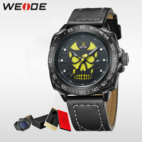 WEIDE Watch Men Casual Leather Strap Quartz Yellow Dial Analog Display Water Resistant Big Fashion Male Clock halloween watch