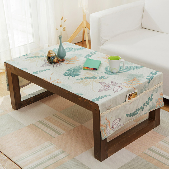 Coffee table tablecloth rectangular cotton linen living room fresh TV cabinet tablecloth cover towel art