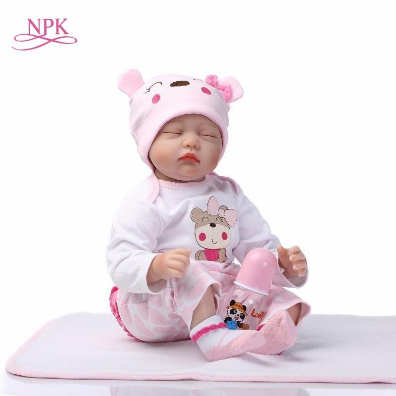 NPK 18inch 43cm soft Silicone adora doll reborn dolls lifelike realista bonecas Fashion plamates holiday gift sleeping baby-in Dolls from Toys & Hobbies    1