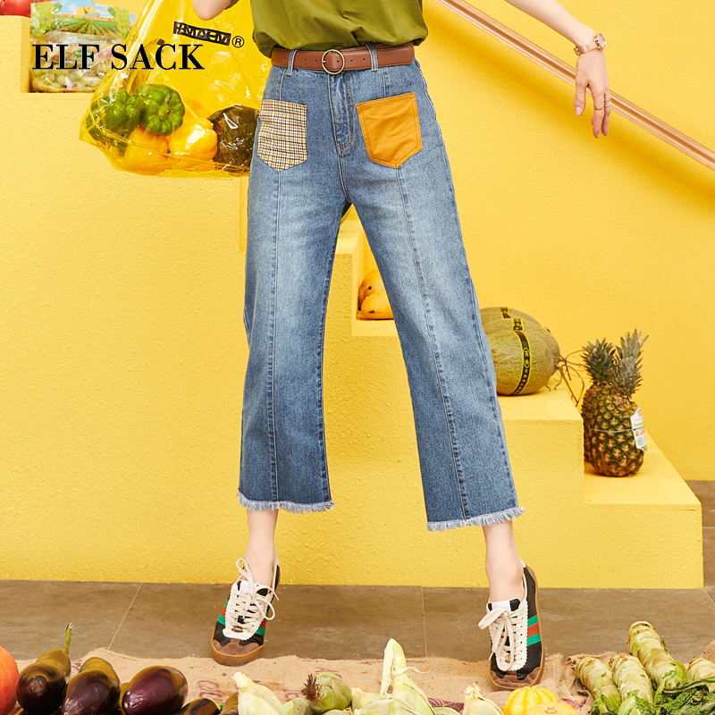 ELF SACK 2019 Spring New Fashion Woman   Jeans   Casual Straight Mid Women Trousers Cotton Plaid Femme Ankle-Length Pants Ladies