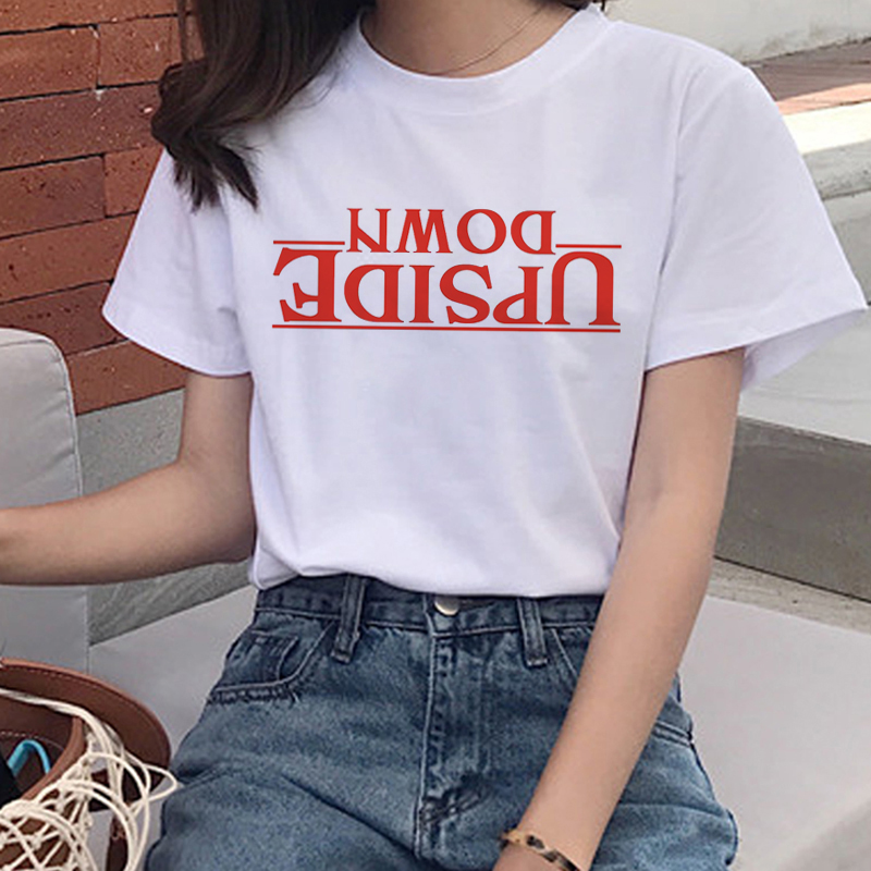 New Stranger Things Harajuku Ullzang   T     Shirt   Women Upside Down Eleven Funny   T  -  shirt   90s Graphic Tshirt Fashion Top Tees Female