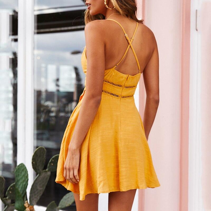 DeRuiLaDy 2019 New Women 100% Cotton Spaghetti Strap Summer Dress Sexy Yellow V Neck Ruffles Mini Dresses Casual Beach Dress 1