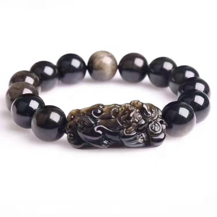 Mode Naturel Or Obsidian PiXiu Dragon bijou Perles Puissant élastique Bracelet