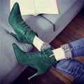 El otoño y el invierno bien con botas cortas zapatos de tacón alto femeninos además de zapatos de terciopelo Martin botas de encaje sexy y tobillo desnudo botas