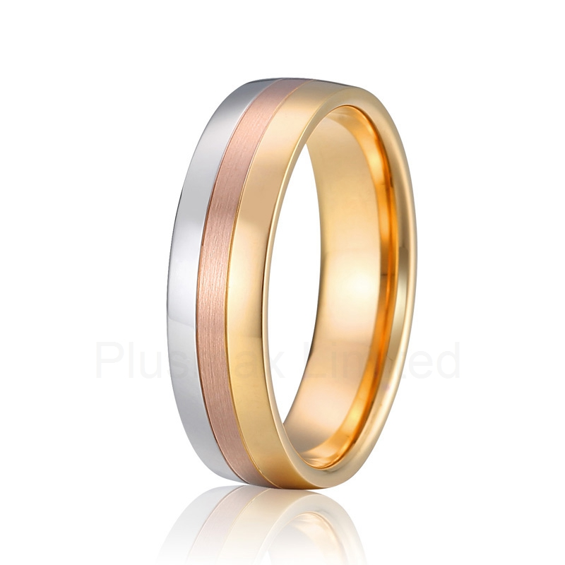 forever love classic tricolor Alliance anel pure titanium wedding band gold color men finger ring anel custom size hammered pattern pure titanium steel jewelry engagement ring wedding band for men