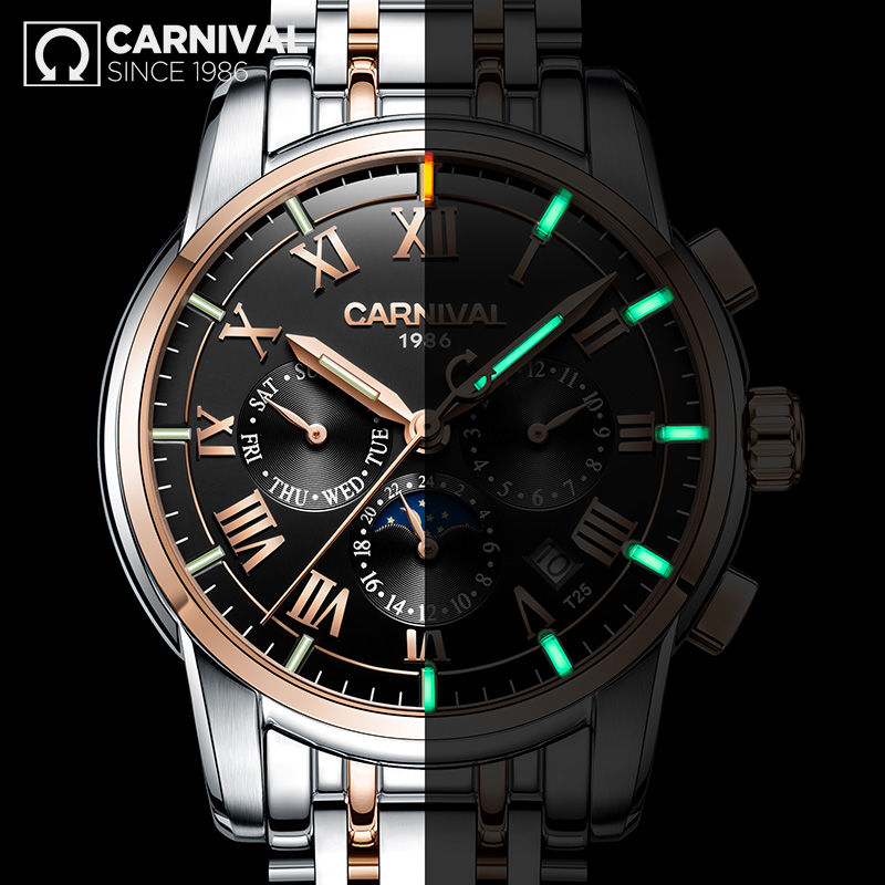 Carnival Tritium Automatic Watch Men Mechanical Watches Mens Top Brand Luxury Moon Phase Wristwatch Luminous Clock