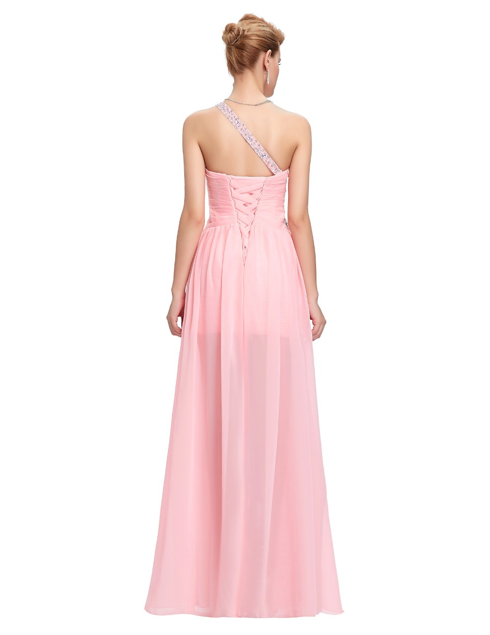 Light Pink Bridesmaid Dresses Grace Karin Beaded Chiffon One Shoulder Formal Gowns Short Front Long Back Wedding Party Dresses 12