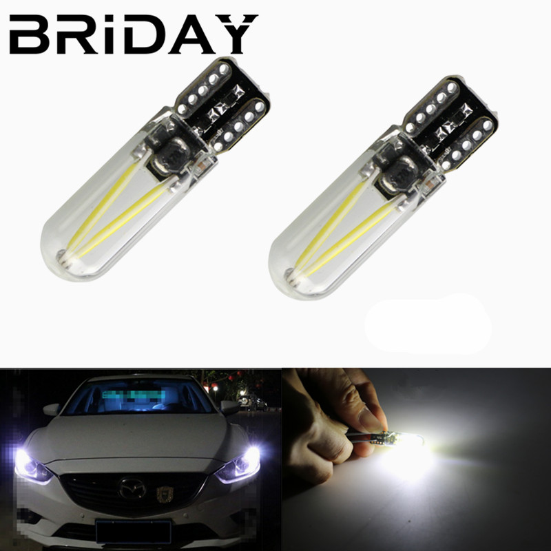 1pc Newest T10 W5W cob glass car light Led filament CANBUS Auto reading dome bulb Clearance lamp DRL car styling 12v white  red