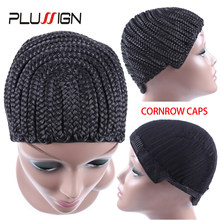 Plussign Hair Braided Cap Combs Braiding Crochet Wig Cornrows Cap For Easier Sew Black 5Pcs/Lot With Free Crochet Needle Hook(China)