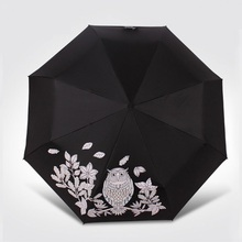 Owl UV-Protection Women Umbrella Folding Umbrellas For Black And White Pattern Becomes Color When Sprayed By Water