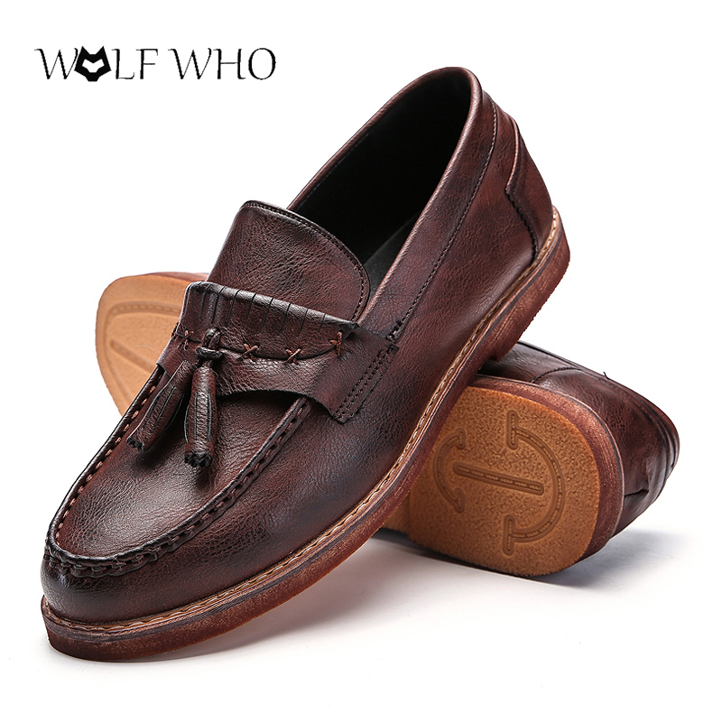 5031cefb300ff2 Men Shoes Genuine Leather Tenis Masculino Adulto Loafers Retro Slip on  Moccasins Tassel Flats Driving Shoes