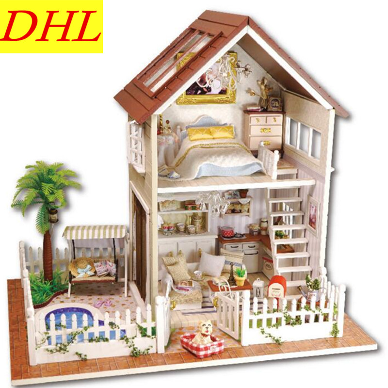 DIY Romance Paris Apartment Log Cabin Manual Assembly Villa House Model Creative Birthday Gift Desktop Decoration L454 beach house paris