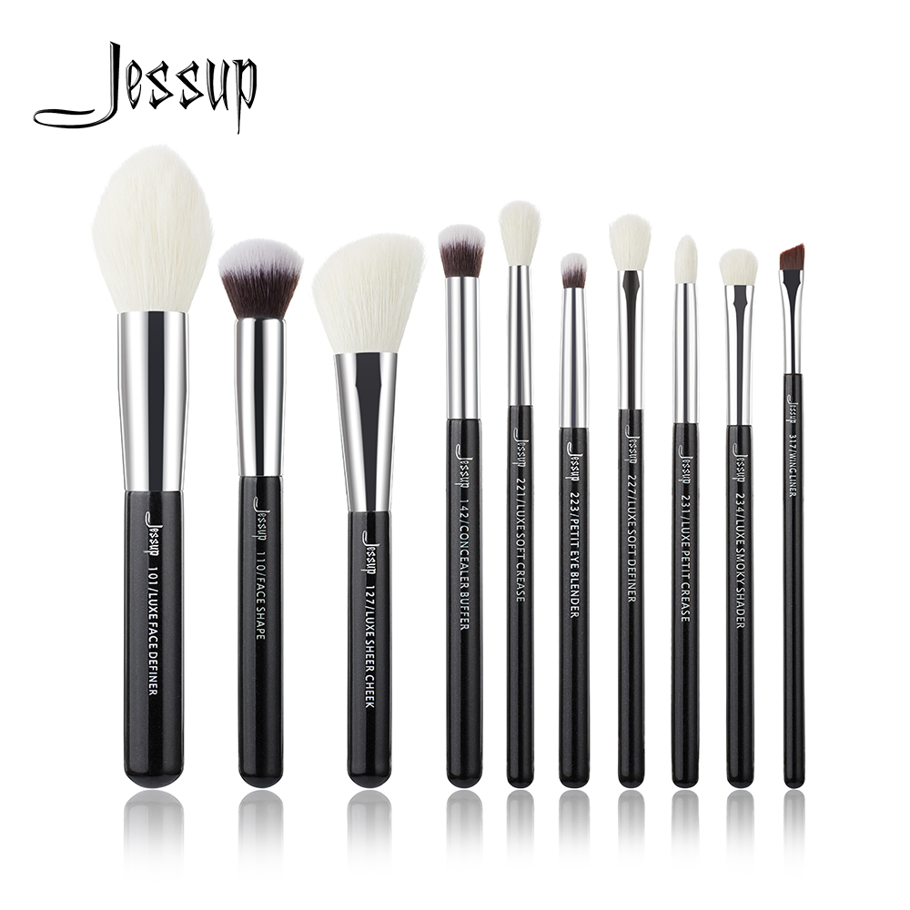 Jessup Black/Silver Professional Makeup Brushes Set Beauty Tools Make Up Brush Cosmetic Foundation Powder Definer Shader Liner