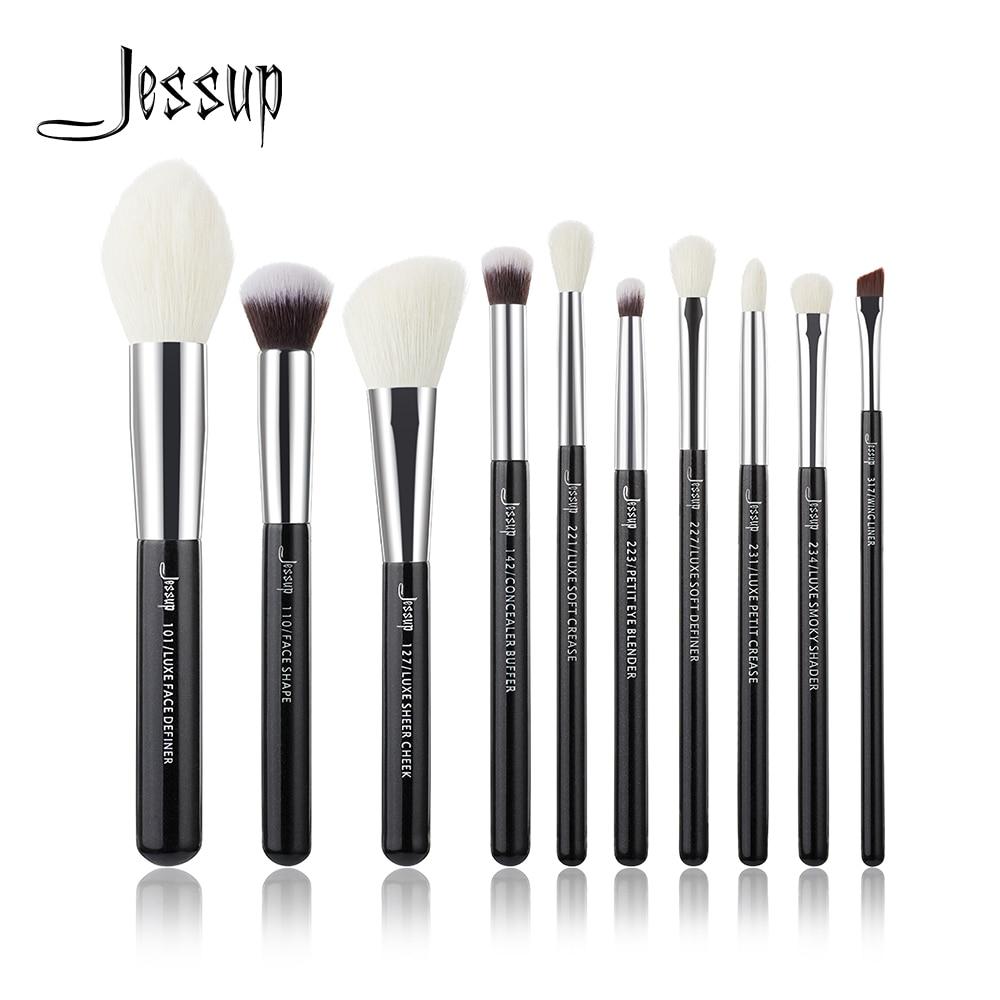 Jessup preto/prata pincéis de maquiagem profissional conjunto ferramentas beleza compõem escova cosméticos fundação pó definer shader forro