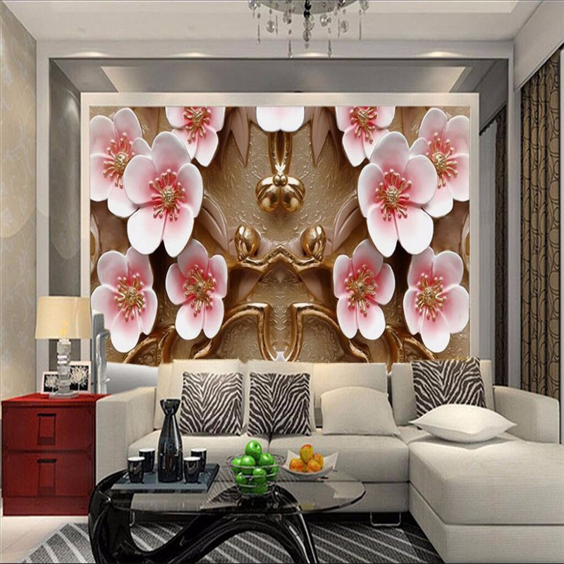 Beibehang 3d Wallpaper Art Deco Picture Modern Living Room Restaurant Hotel Golden Plum High Definition Photo Mural
