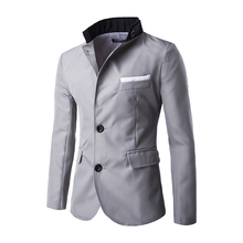 New Arrival Men Casual Suit Personality Design Matching Color Collar Long Sleeve Slim fit Suits Masculine Fashion Blazer