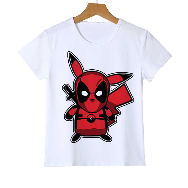 ac9980f6 3D Cartoon Fashion Pokemon Design tops Shirt Newest Deadpool Pikachu Kid T  shirt Printed Boy Girl