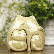 rural lovely ceramic lucky cat family home decor crafts room decoration porcelain animal figurine maneki neko wedding decoration