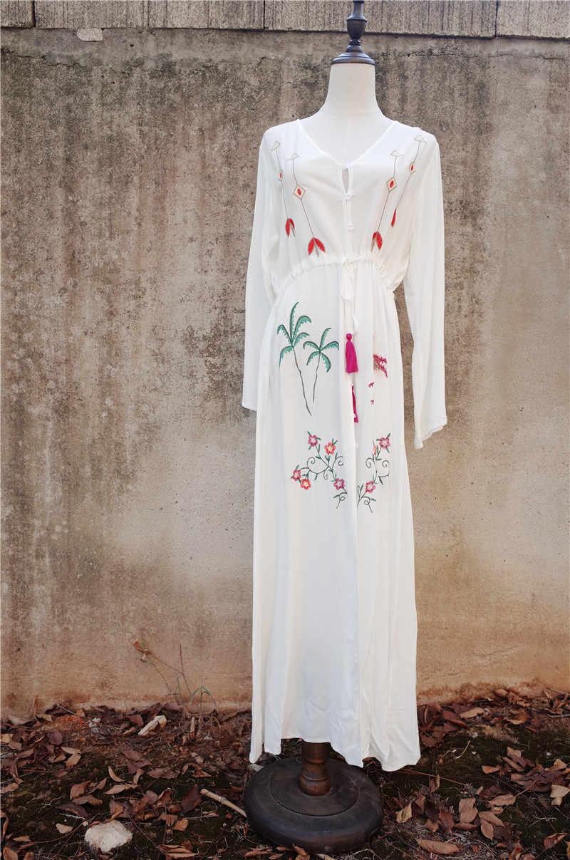 0b536db23 ... Богемная вышитая пуговица Спереди открытая хлопковая Туника женское  летнее пляжное платье плюс размер с длинным рукавом ...