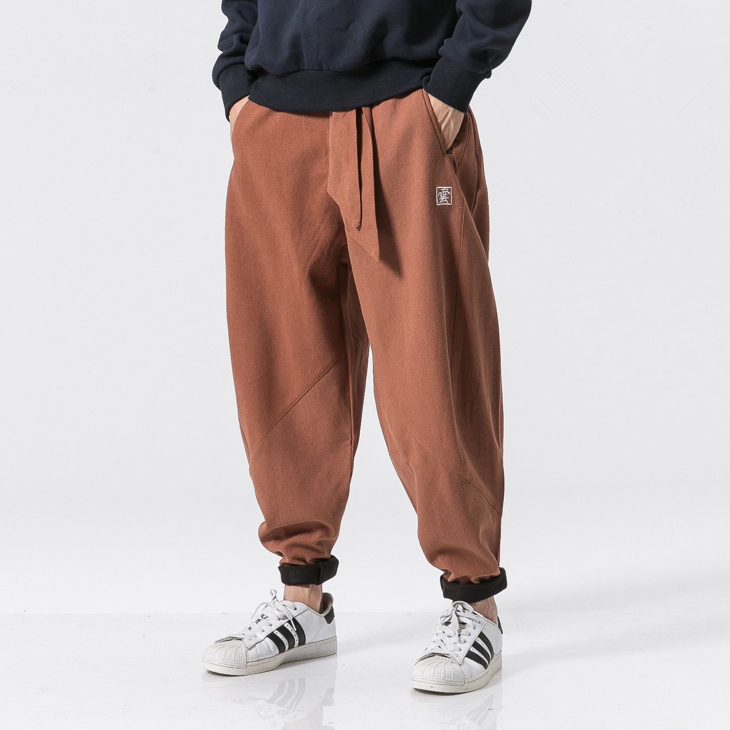 Linen Cotton Pants Men 2017 Winter Fleece Warm Pants Drawstring Brand Chinese Male Linen Trouser Hip Hop Jogger Pants Men M-5XL