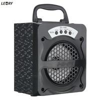 LEORY USB LED Light TF FM Radio bluetooth Speaker Wireless Built in 600mAh Li battery Stereo Karaoke Speaker Outdoor Party