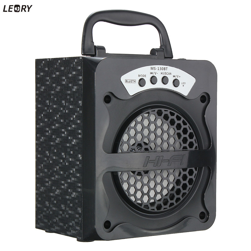LEORY USB LED Light TF FM Radio Bluetooth Speaker Wireless Built in 600mAh Li-battery Stereo Karaoke Speaker Outdoor Party
