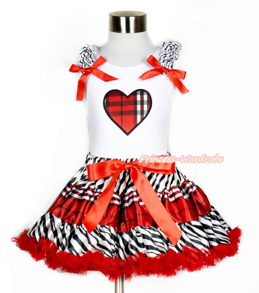 XMAS Plaid Heart Print White Top Zebra Red Black Plaid Girl Skirt 1-8Y MAPSA0211 xmas rhinestone santa baby top green white dot red skirt baby girl outfit 1 8y mapsa0048