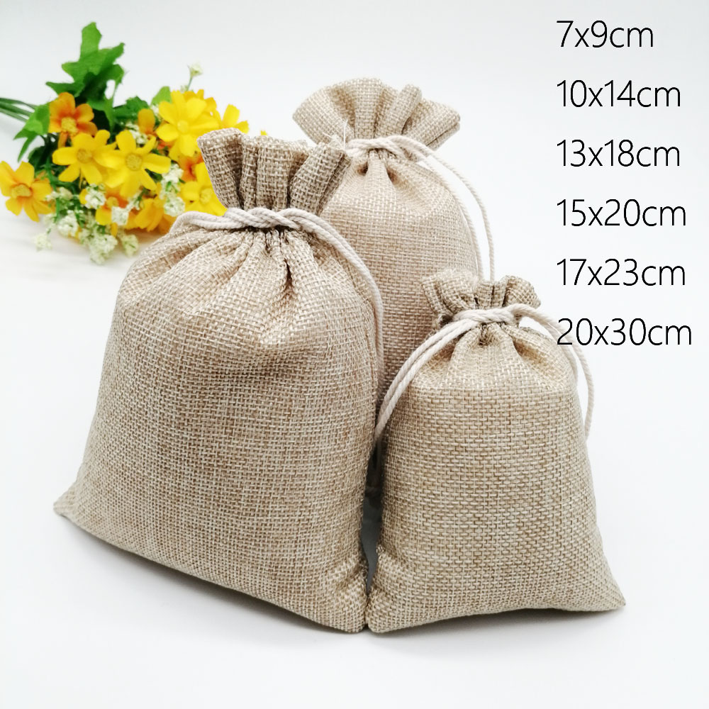 10pcs Jute Linen Bags For Jewelry Display Drawstring Pouch Gift Box Packaging Bags For Gift Bag Wedding/Christmas Burlap Bag Diy