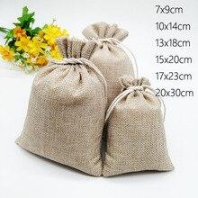 Bolsas de lino de yute para exhibición de Joyas, 10 Uds., bolsa con cordón, caja de regalo, bolsas de embalaje para regalo, bolsa de arpillera de boda/Navidad Diy
