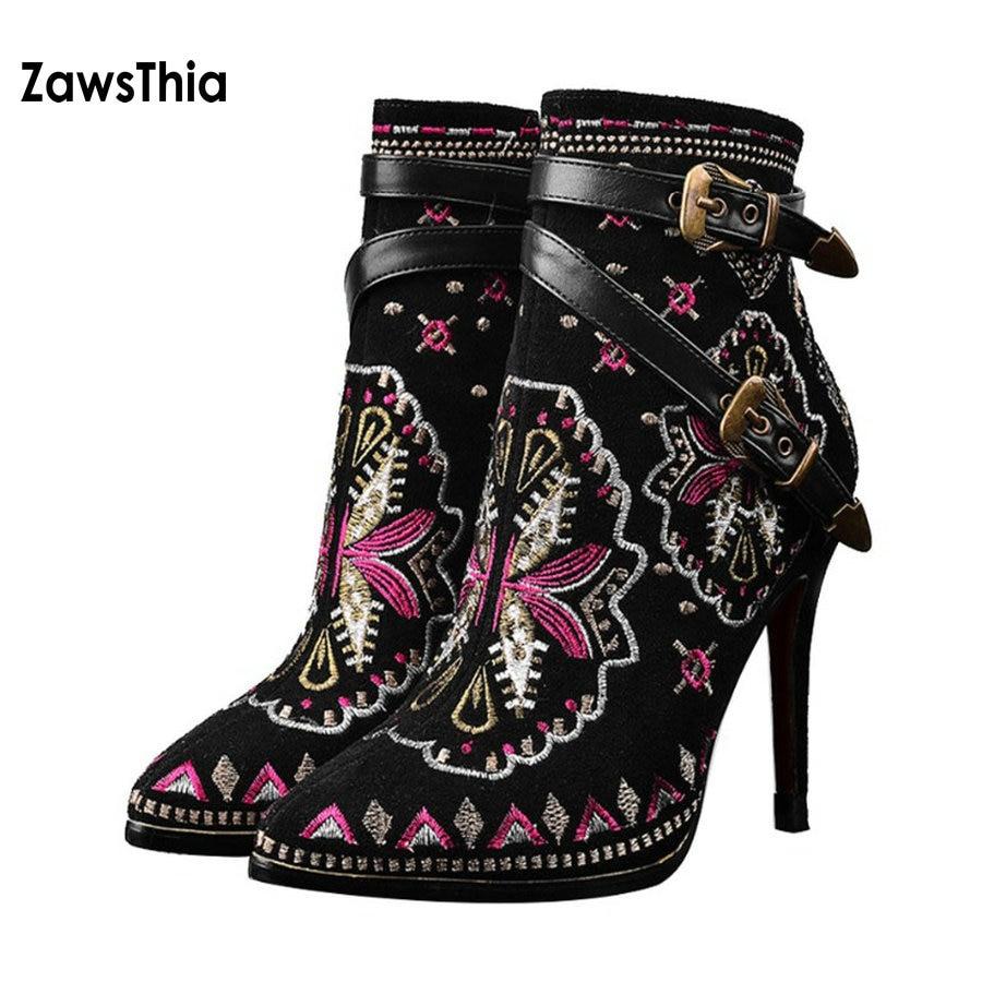 Zawsthia 34 Broderie Lining En fleece Chaussures Style Cuir Femme Lining Véritable Pig Talons 42 Skin Exotique Suédé Vache Broder Taille Mince Bottes Cheville Haute Bohème fUqfrBnwx