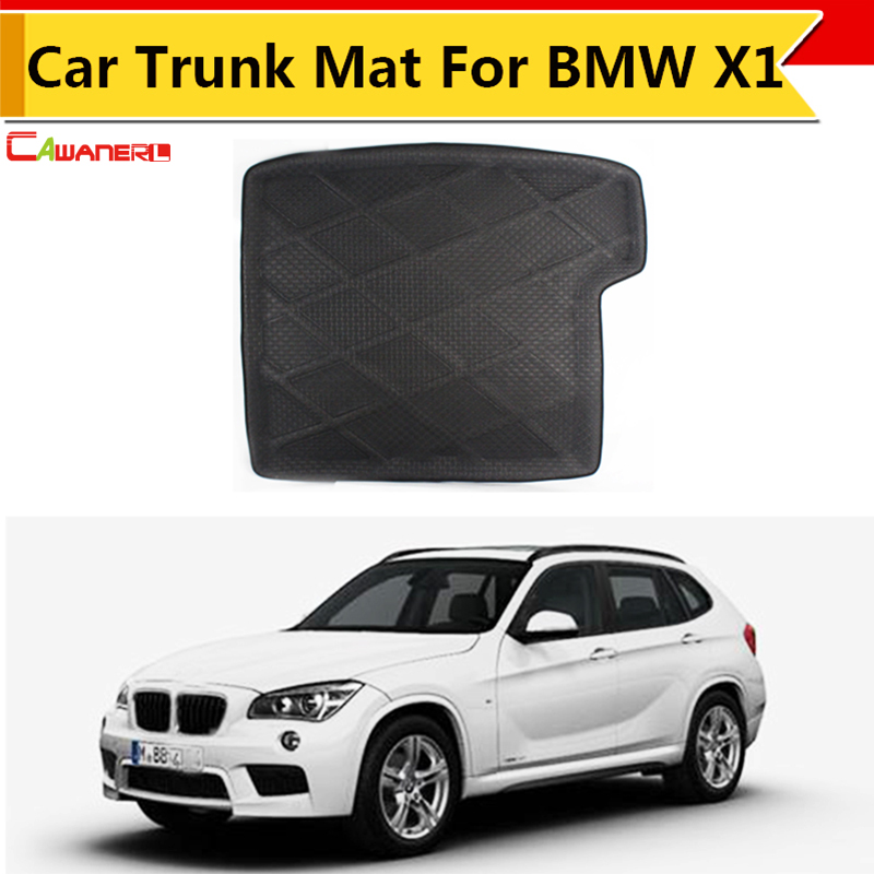 Cawanerl Car SUV Rear Area Protector Floor Trunk Mat Tray Boot Liner Mat Carpet Easy Cleaning Black For BMW X1