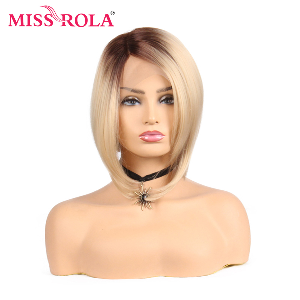 Miss Rola Synthetic Bob Wig Lace Front Wig Short Straight Synthetic Wig With T Lace Part Closure Ombre Blonde Color 150% Density