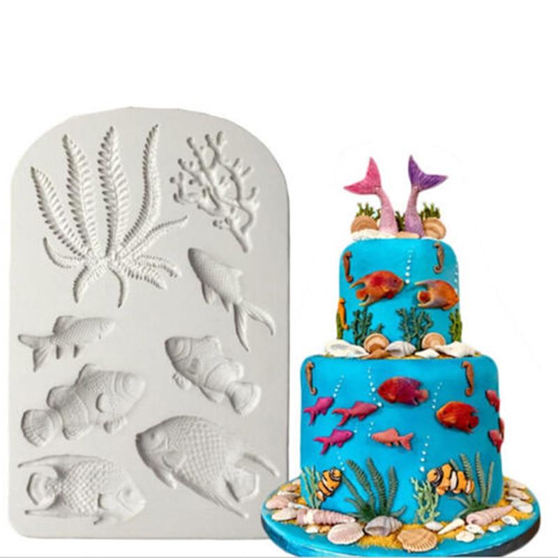 3D Silicone Mold Sea Animal Fondant Cake Decorating Tools Starfish Shell Chocolate Gumpaste Mold(China)