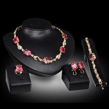 Women Elegant Gold Color Jewelry Sets Austrian Crystal Zircon Necklace Bracelet Earrings Ring Wedding Party Sets
