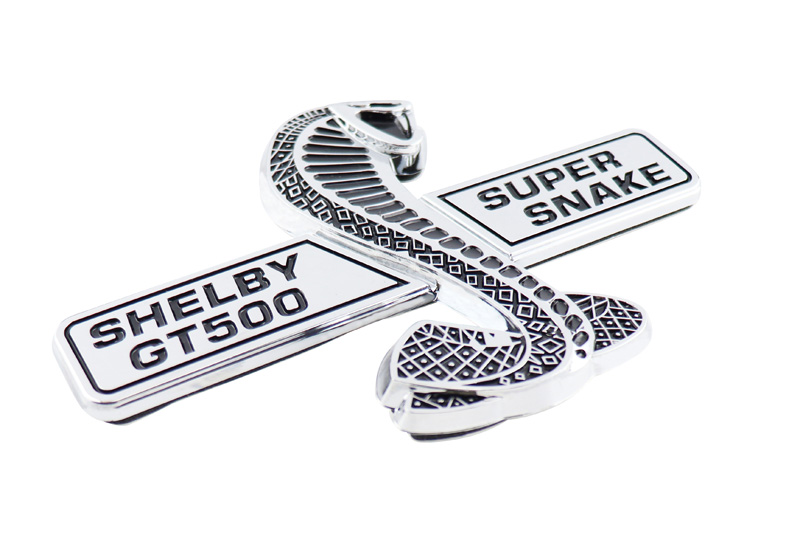 chrome super snake COBRA for shelby GT500 GT 500 Mustang Emblem Badge Sticker L new 3d abs cobra snake emblem logo side sticker steering wheel decal badge upper grille for ford mustang v6 gt gt500 tail gate