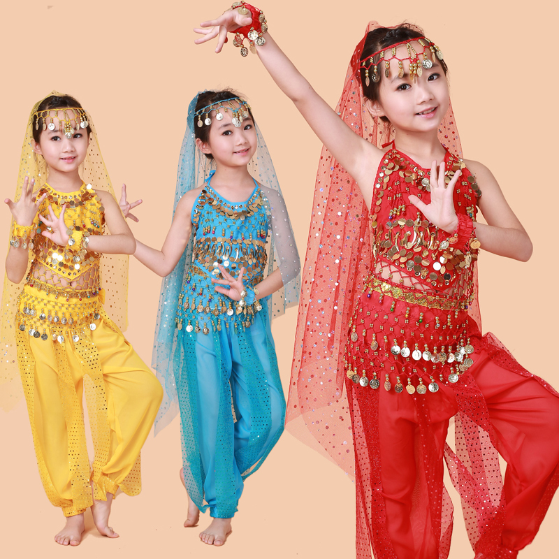 Free Shipping Hot Selling Belly Dance Performance Bollywood Indian Child Costume Indian Dance Costumes For Kids