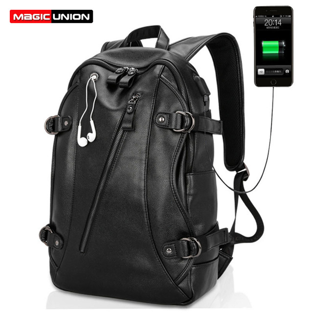 MAGIC UNION Fashion Usb Charging Backpacks PU Leather Backpack Men's Casual Travel Bags Big Capacity Backpacks Zipper Men Bag