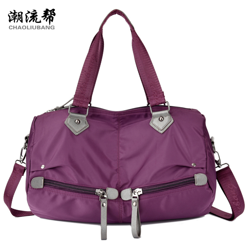 High quality waterproof nylon handbag brand Pure color contracted firm travel bag More zipper women's shoulder bag fashion bag