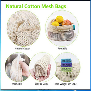 Image 2 - Reusable Cotton Vegetable Bags Home Kitchen Fruit And Vegetable Storage Mesh Bags With Drawstring Machine Washable