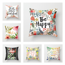 YVEVON Nature Flower Printing Cushion Cover Home Decor English Letter Pillow Bag Sofa Vintage Style Waist Pillowcase 45cm 18inch