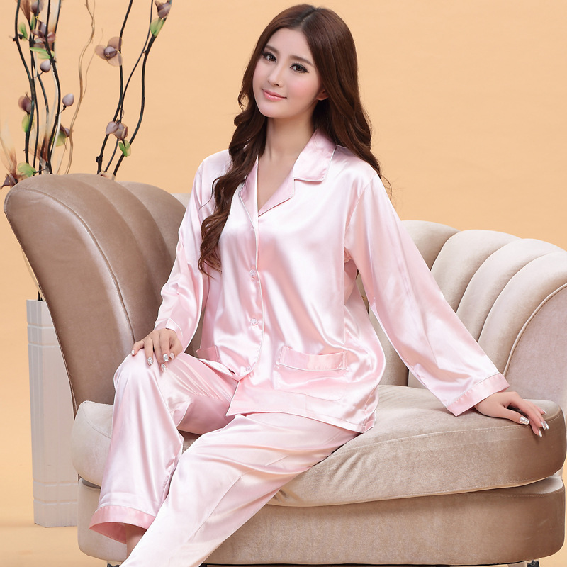 ONTFIHS White and Pink Silk Satin Pajama Sets For Women Sleepwear Long  Pajamas tops and Pants Pyjamas Set A 15-in Pajama Sets from Underwear    Sleepwears on ... 854a4051c