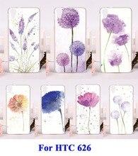 Diy pintado plástico rígido & soft tpu acessórios do telefone celular casos de peças para htc desire 626 626 w 626d flores pintura tampa do telefone