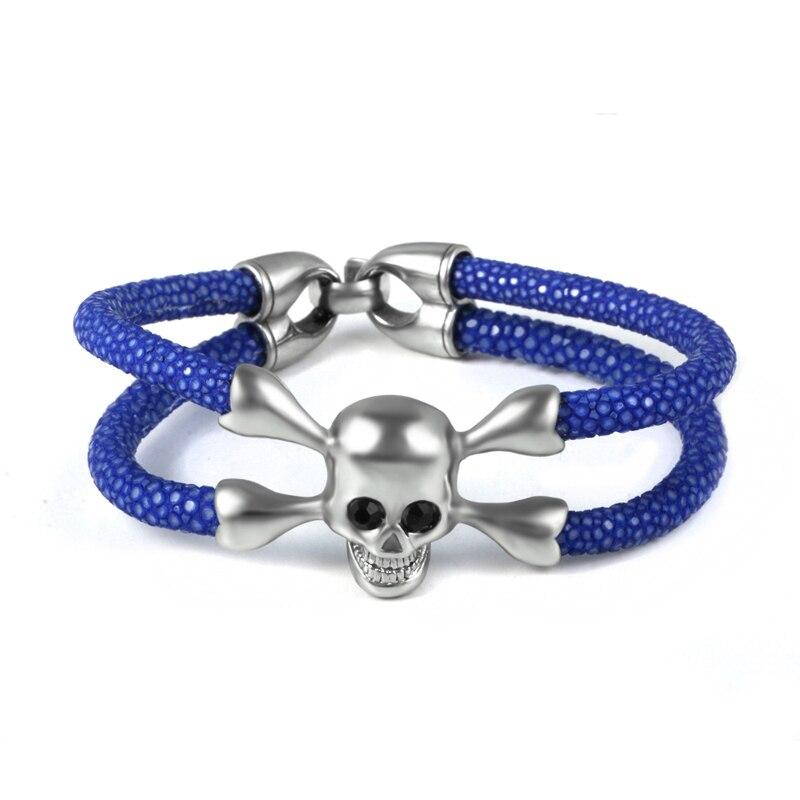(10pcs) Men Silver Stainless Steel Skull Bracelet High Quality 5mm Stingray Leather Black Eye Leather Bracelet Luxury Gift