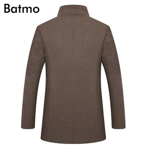 Image 3 - BATMO 2019 yeni varış kış yüksek kaliteli yün kalın trençkot erkekler, erkek gri yün ceketler, artı boyutu M 6XL, 1818