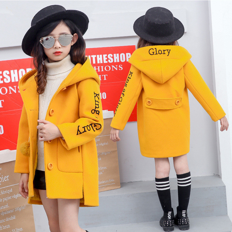 3-12T Girl Woolen Coat 2018 Winter New Fashion Princess Single-breasted Wool & Blends Children Thickening Plus Cotton Outerwear цена