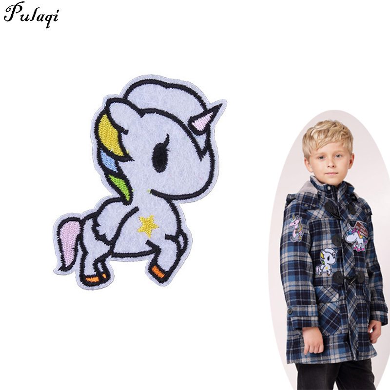 Pulaqi Cute Funny Unicorn Patch Iron On Embroidery Anime Badge Patches Sewing On Clothes Accessories Jean Jacket Applique H